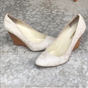 Snakeskin Taupe Wedge Pump Wood Detail